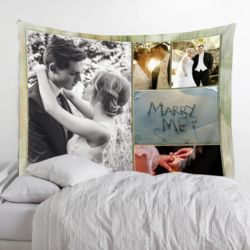 Personalized Photo Collage Microfiber Wedding Tapestry - 80