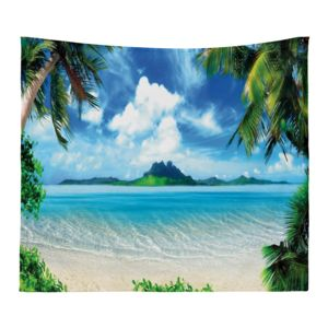Personalized Photo Collage Microfiber Beach Scene Tapestry - 60