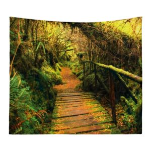 Personalized Photo Collage Forest Trail Microfiber Wall Tapestry - 80