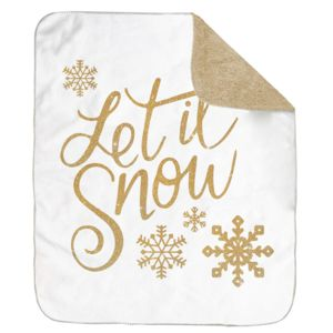Personalized Christmas Let It Snow Ultra Plush Sherpa Blanket - 50
