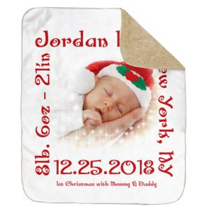 Personalized Christmas Photo Collage 1st Christmas Ultra Plush Sherpa Blanket - 60
