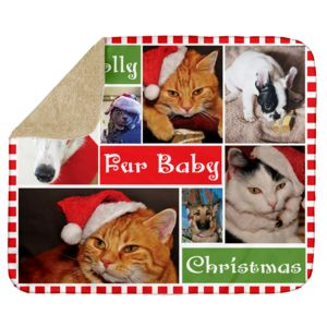 Personalized Photo Collage Fur Baby Christmas Ultra Plush Sherpa Blanket - 60