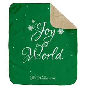 Personalized Christmas Joy to the World (Green) Ultra Plush Sherpa Blanket - 60
