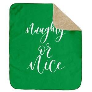 Personalized Christmas Naughty or Nice (Green) Ultra Plush Sherpa Blanket - 60