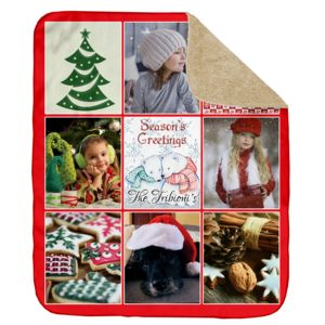 Personalized Photo Collage Season's Greetings Ultra Plush Sherpa Blanket - 60