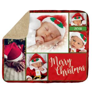 Personalized Photo Collage 'ChristmasCard'  Ultra Plush Sherpa Blanket - 60