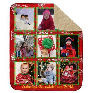 Personalized Photo Collage 'Christmas Border'  Ultra Plush Sherpa Blanket - 60