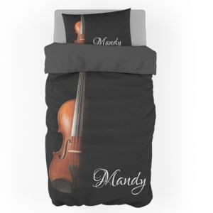Personalized Violin Duvet Cover - Twin (Pillowcase Sold Separately) Thumbnail